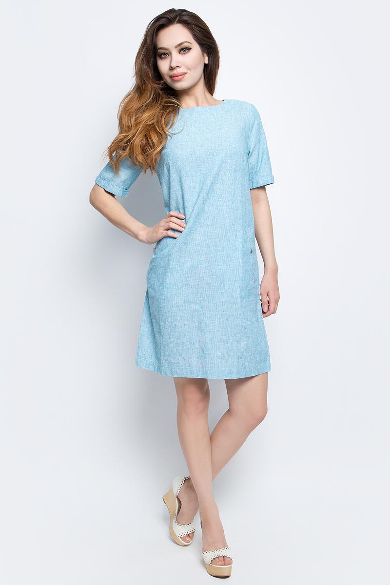 Платье Finn Flare, цвет: бирюзовый. S17-12002_141. Размер M (46)S17-12002_141Платье Finn Flare выполнено из льна и хлопка. Модель с круглым вырезом горловины и короткими рукавами.