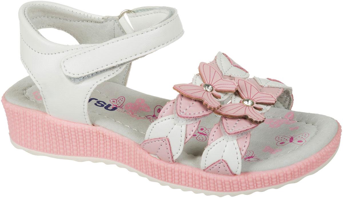 Босоножки для девочки Mursu, цвет: белый, розовый. 101472. Размер 27101472Босоножки для девочки Mursu выполнены из качественной искусственной кожи и оформлены декоративными бабочками. Ремешки с липучками обеспечат оптимальную посадку модели на ноге. Кожаная стелька придаст максимальный комфорт при движении. Подошва оснащена рифлением для лучшего сцепления с различными поверхностями.