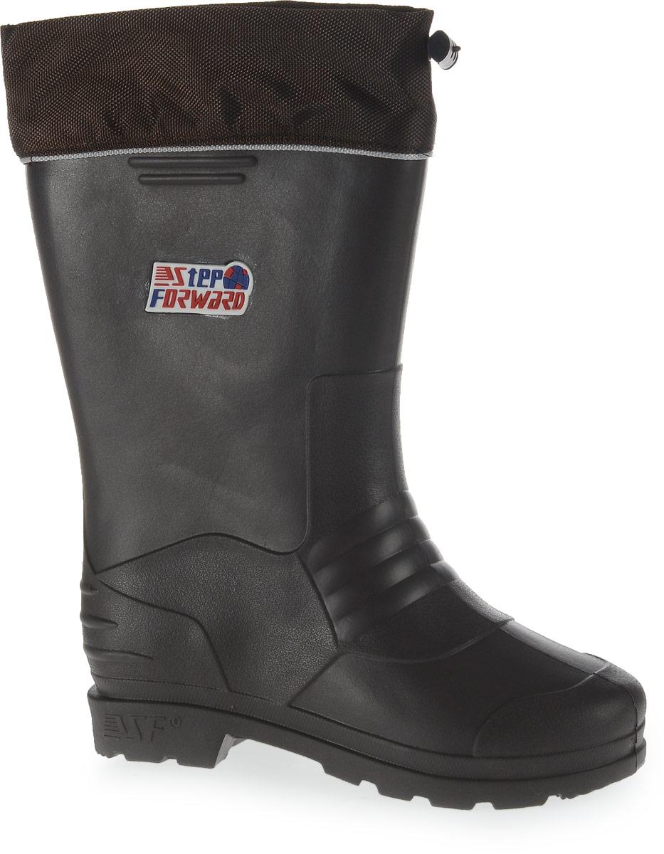 Сапоги резиновые мужские Step Forward, цвет: темно-коричневый. Т-105. Размер 45/46Т-105Мужские резиновые сапоги от Step Forward - идеальный вариант для дождливой холодной погоды! Модель изготовлена из материала ЭВА. Текстильный верх голенища регулируется в объеме за счет эластичного шнурка со стоппером. Сапоги оснащены съемным носком из искусственного меха с фольгированной поверхностью. Носок застегивается на застежку-липучку. Подошва дополнена протектором.