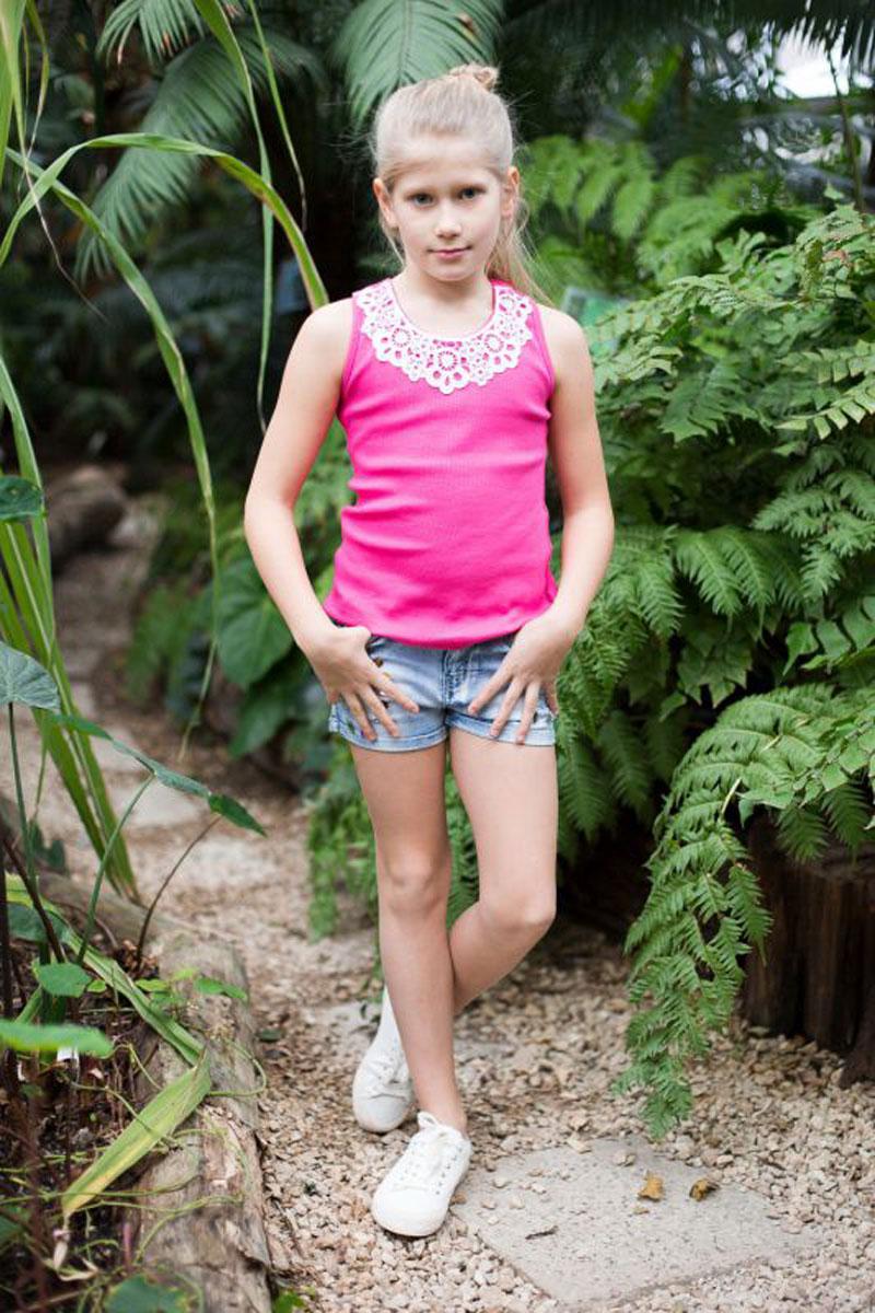 Майка для девочки Luminoso, цвет: фуксия. 718017. Размер 140718017Майка-топ для девочки. Горловина декорирована кружевным плетением.