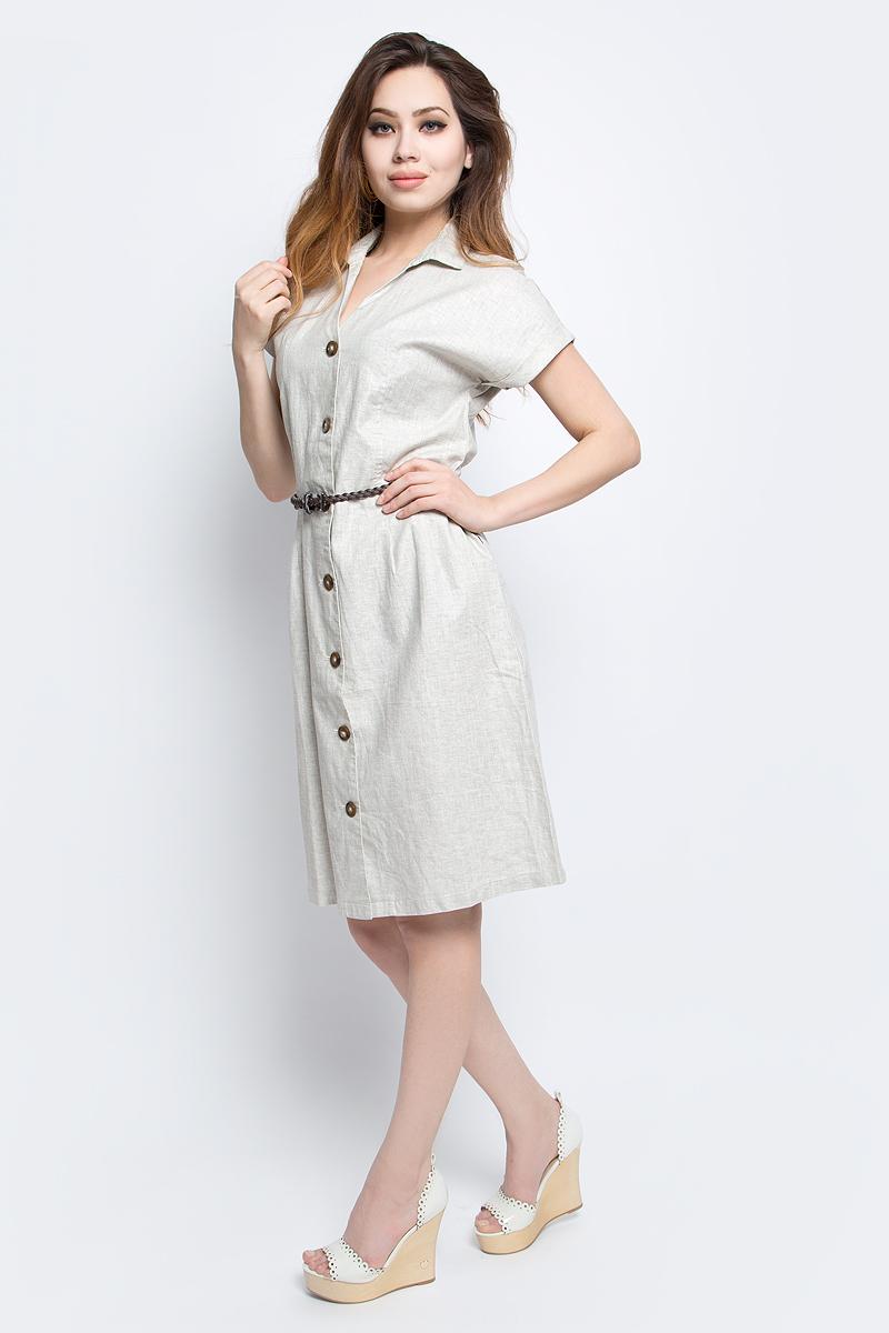 Платье Finn Flare, цвет: светло-бежевый. S17-12036_702. Размер XL (50)S17-12036_702Платье Finn Flare выполнено из льна и вискозы. Модель с отложным воротником и короткими рукавами.