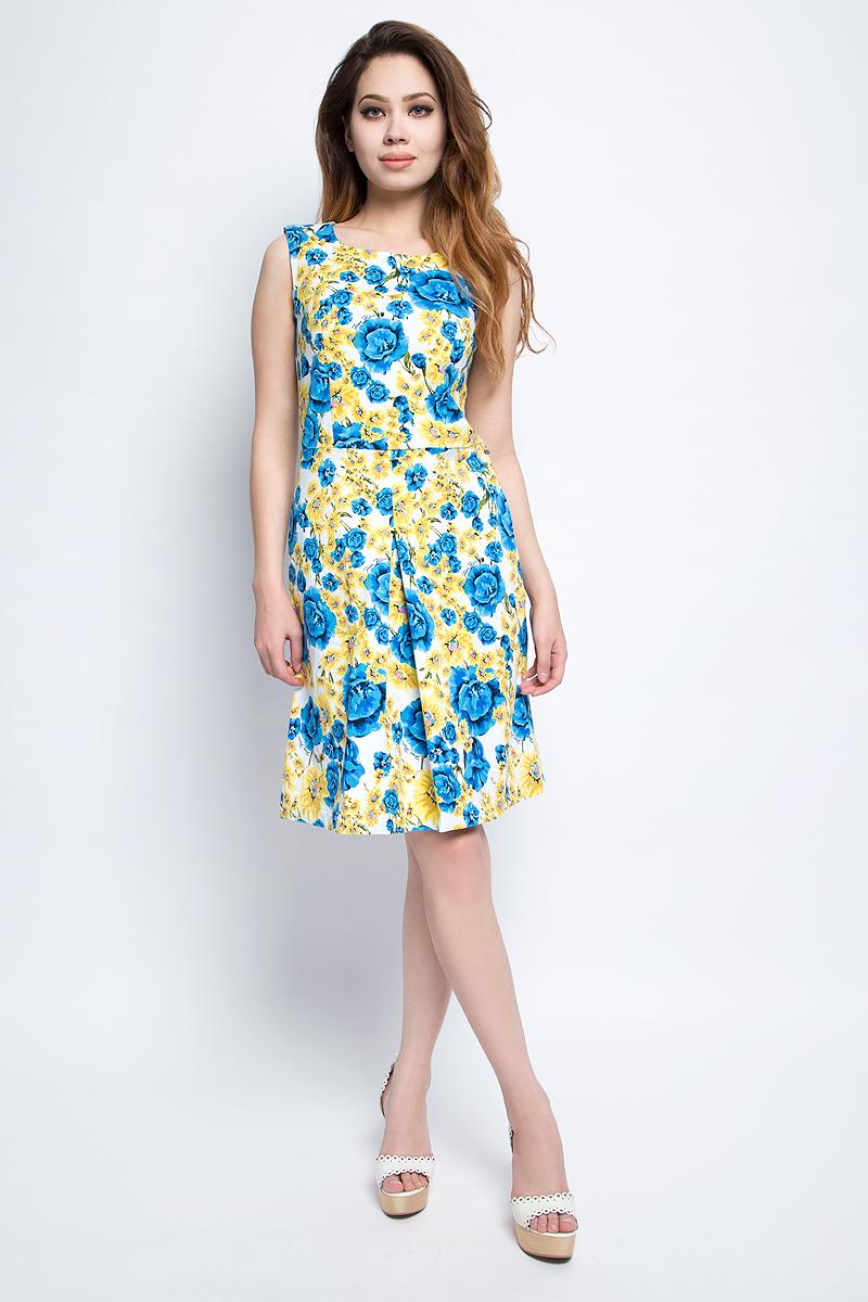 Платье Finn Flare, цвет: синий. S17-11033_115. Размер S (44)S17-11033_115Платье Finn Flare выполнено из хлопка и эластана. Модель с круглым вырезом горловины оформлена цветочным принтом.