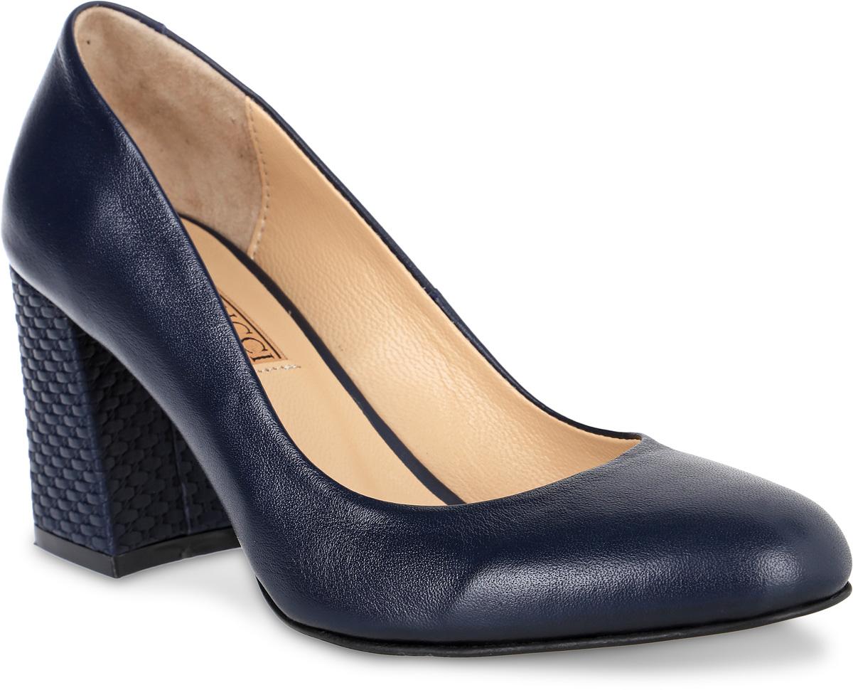 Туфли женские Benucci, цвет: темно-синий. 6060_кожа. Размер 386060_кожаИзысканные женские туфли от Benucci поразят вас своим дизайном! Модель выполнена из натуральной кожи. Подкладка и стелька - из натуральной кожипозволят ногам дышать и обеспечат максимальный комфорт при ходьбе. Зауженный носок добавит женственности в ваш образ. Высокий толстый каблук декорирован плетением. Подошва с резиновой вставкой обеспечивает отличное сцепление с поверхностью. Модные туфли подчеркнут вашу яркую индивидуальность, позволят выделиться среди окружающих.