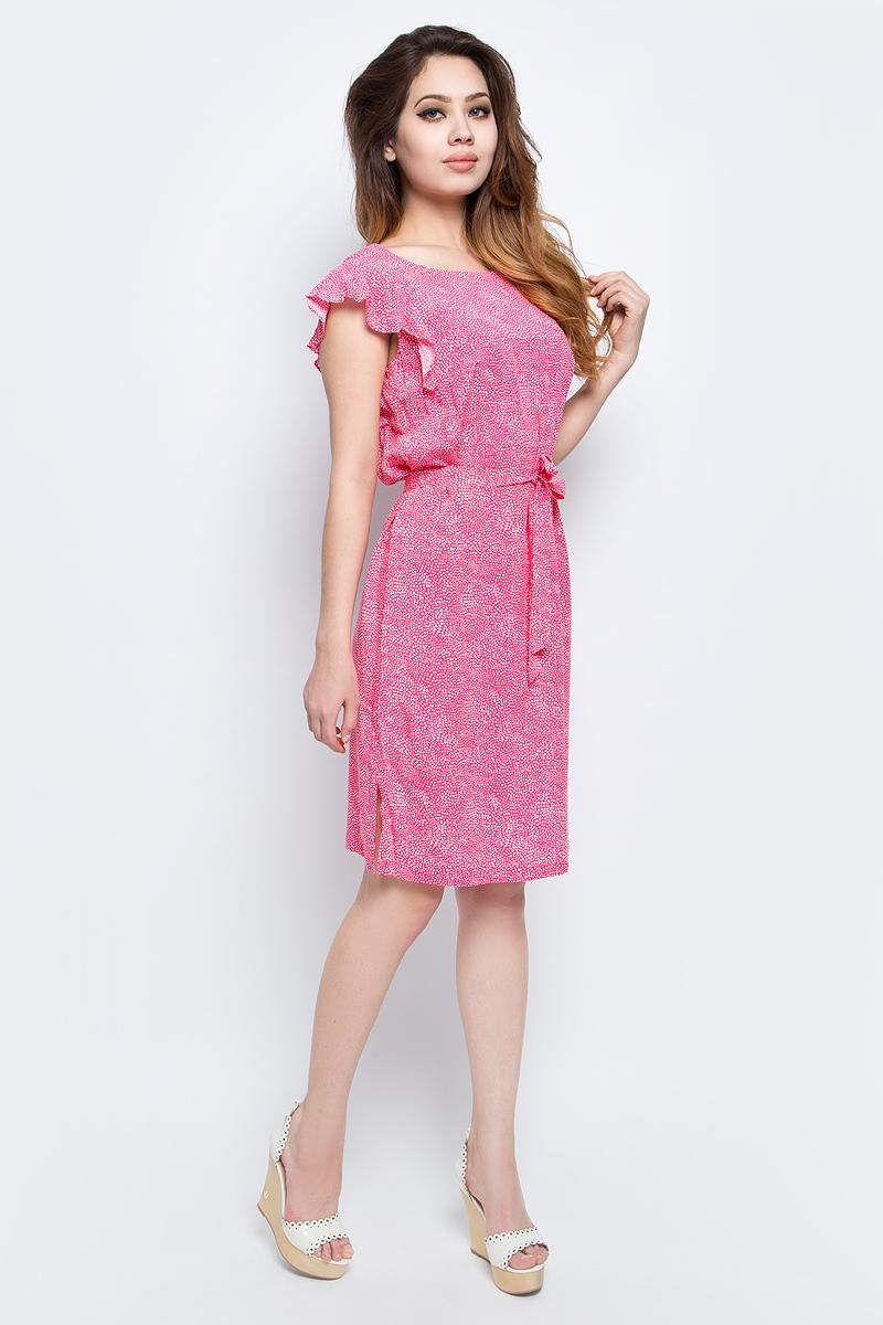 Платье Finn Flare, цвет: розовый. S17-32021_334. Размер M (46)S17-32021_334Платье Finn Flare выполнено из вискозы. Модель с круглым вырезом горловины оформлена оригинальным принтом.