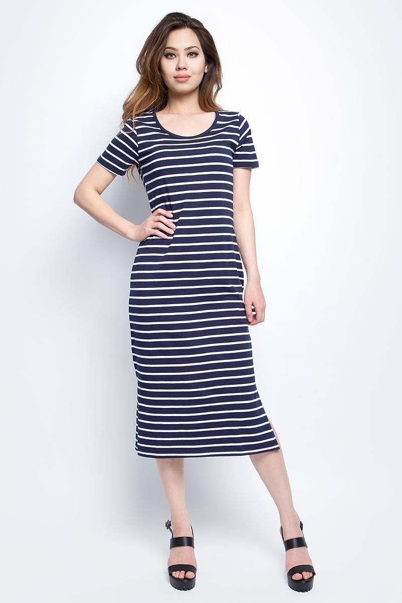 Платье Baon, цвет: темно-синий. B457099_Dark Navy Striped. Размер M (46)B457099_Dark Navy StripedПлатье Baon выполнено из натурального хлопка. Модель с круглым вырезом горловины и короткими рукавами.