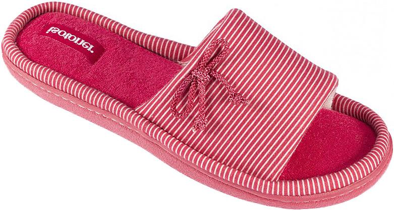 Тапки женские Isotoner, цвет: красный. 93372. Размер 6,5/7 (37)93372Женские тапки от Isotoner, с открытым мысом выполненные из текстиля, помогут отдохнуть вашим ногам после трудового дня.Эластичная резиновая подошва полностью повторяет изгиб стопы при движении.