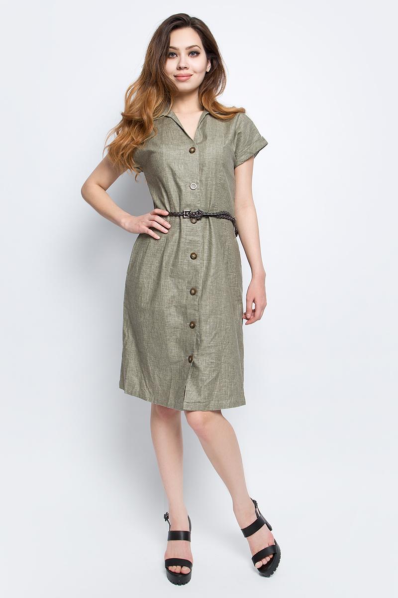 Платье Finn Flare, цвет: зеленый. S17-12036_911. Размер M (46)S17-12036_911Платье Finn Flare выполнено из льна и вискозы. Модель с отложным воротником и короткими рукавами.