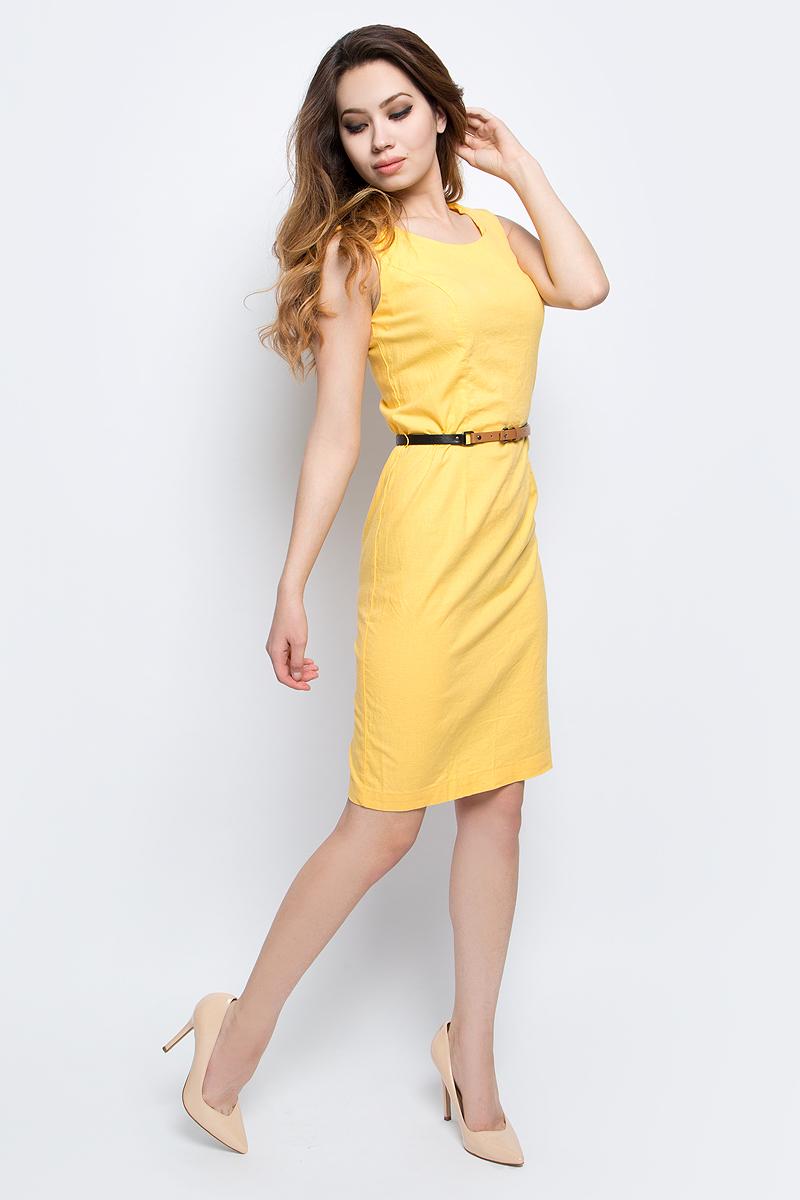 Платье Finn Flare, цвет: желтый. S17-12043_410. Размер L (48)S17-12043_410Платье Finn Flare выполнено из льна, вискозы и эластана. Модель с круглым вырезом горловины сзади застегивается на застежку-молнию.