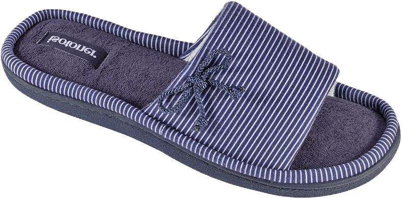 Тапки женские Isotoner, цвет: синий. 93372. Размер 6,5/7 (37)93372Женские тапки от Isotoner, с открытым мысом выполненные из текстиля, помогут отдохнуть вашим ногам после трудового дня.Эластичная резиновая подошва полностью повторяет изгиб стопы при движении.