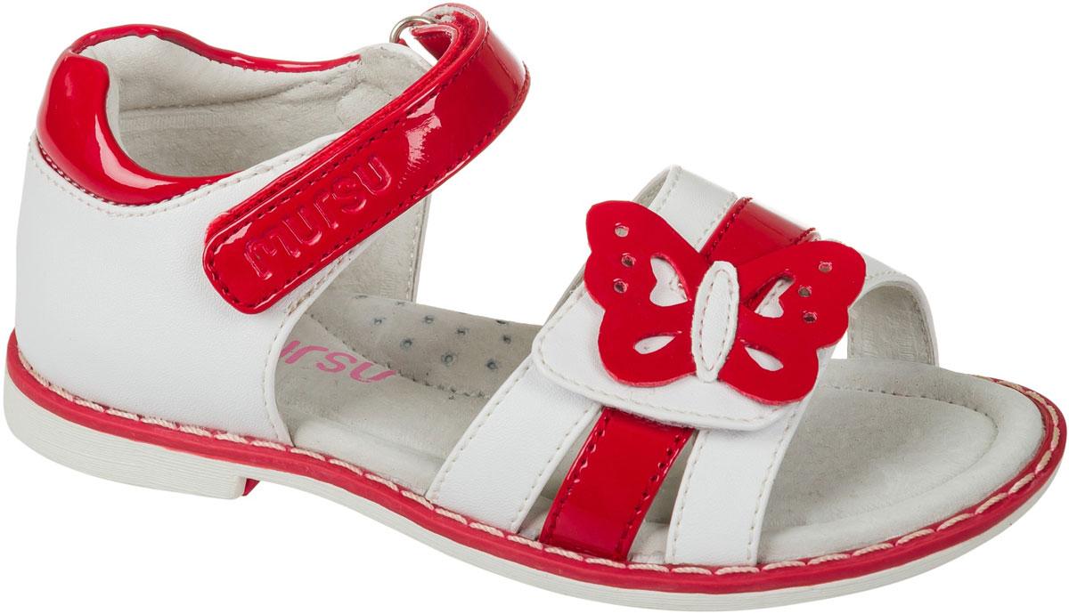 Босоножки для девочки Mursu, цвет: белый, красный. 101259. Размер 30101259Босоножки для девочки Mursu выполнены из качественной искусственной кожи и оформлены декоративной бабочкой. Ремешок с липучкой обеспечит оптимальную посадку модели на ноге. Кожаная стелька придаст максимальный комфорт при движении.