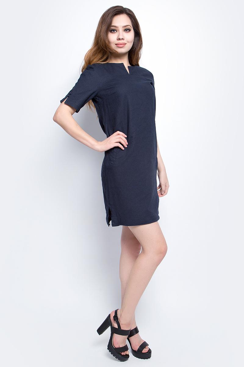 Платье Finn Flare, цвет: темно-синий. S17-14050_101. Размер M (46)S17-14050_101Платье Finn Flare выполнено из льна и хлопка. Модель с круглым вырезом горловины и короткими рукавами.