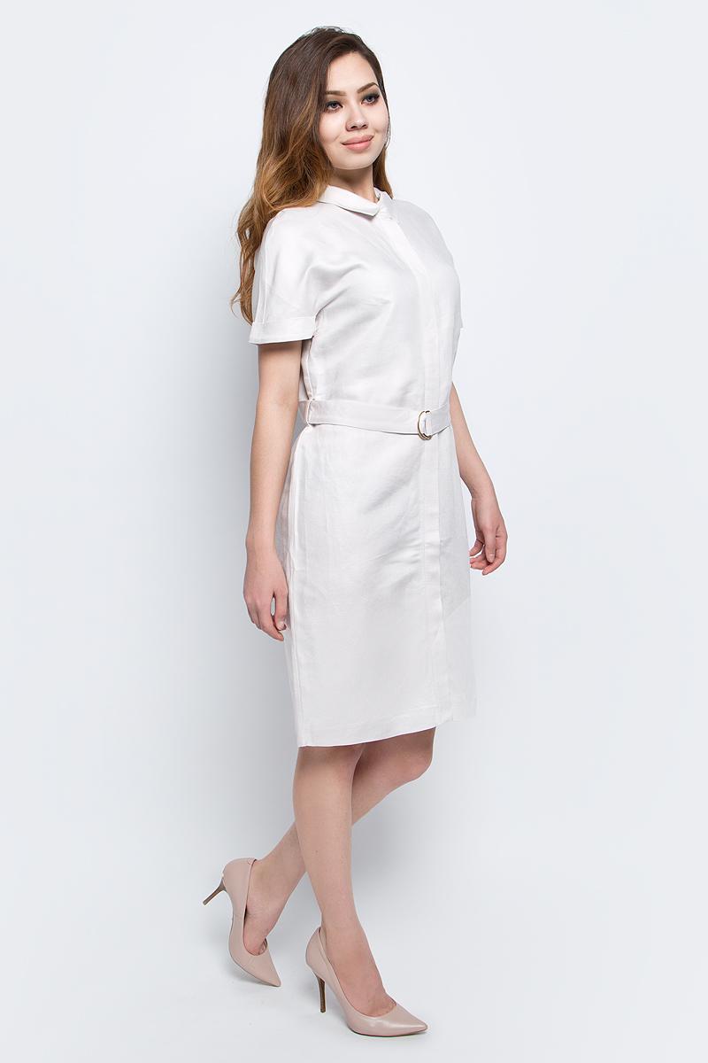Платье Baon, цвет: бежевый. B457065_Sea Salt. Размер XXL (52)B457065_Sea SaltПлатье Baon выполнено из льна и вискозы. Модель с отложным воротником и короткими рукавами.