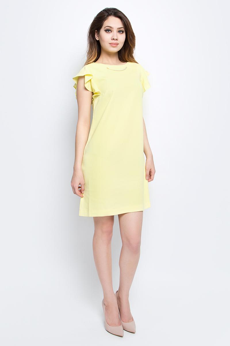 Платье Baon, цвет: желтый. B457081_Canary. Размер L (48)B457081_CanaryЯркое платье Baon с рукавами-оборками выполнено из полиэстера. Изделие имеет прямой крой. Застёжка-молния расположена на спине. Передняя часть платья декорирована металлической деталью.