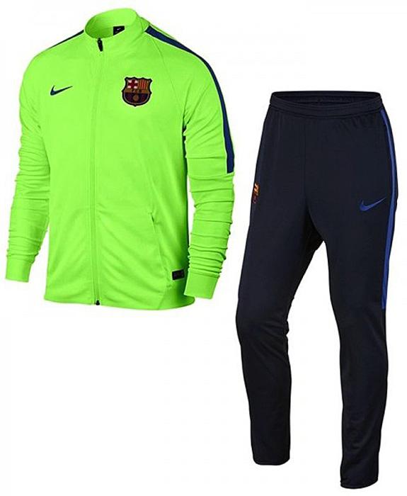 Спортивный костюм мужской Nike FC Barcelona Dry Track Suit, цвет: салатовый, темно-синий. 808949-368. Размер S (44/46)808949-368Спортивный костюм от Nike Fc Barcelona выполнен из полиэстера. Технология Dri-FIT в трикотажной ткани отводит влагу от кожи, а манжеты и кромка из рубчатой ткани обеспечивают плотную посадку, не стесняя движений. Костюм состоит из куртки и брюк. Куртка с воротником-стойкой и длинными рукавами застегивается на застежку-молнию. По бокам расположены два кармана. Брюки на поясе имеют широкую эластичную резинку, по бокам - карманы на застежках-молниях. Низ штанин дополнен застежками-молниями. Костюм оформлен символикой ФК «Барселона» и цветами любимого клуба.