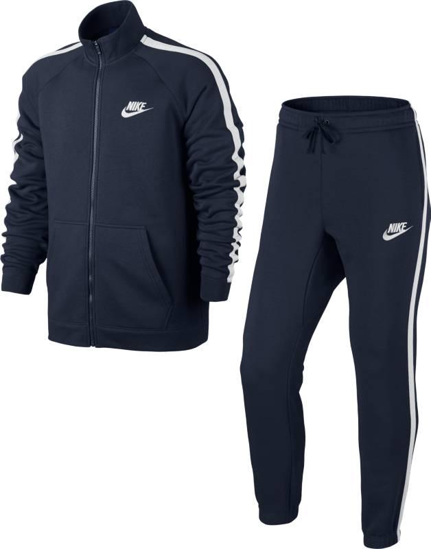 Спортивный костюм мужской Nike Nstrk Suit Flc Season, цвет: темно-синий. 804312-452. Размер S (44/46)804312-452Мужской спортивный костюм Nstrk Suit Flc Season от Nike, состоящий из куртки и брюк, станет отличным дополнением к вашему гардеробу. Изготовленный из хлопка с добавлением полиэстера, он легкий, приятный на ощупь, не сковывает движения и хорошо вентилируется. С внутренней стороны костюм имеет мягкий ворс. Куртка с воротником-стойкой и длинными рукавами застегивается на застежку-молнию. Спереди расположены два накладных кармана.Брюки на поясе имеют широкую эластичную резинку и затягивающийся шнурок. По бокам расположены два кармана, сзади - карман на кнопке. Низ брюк присборен на резинки.