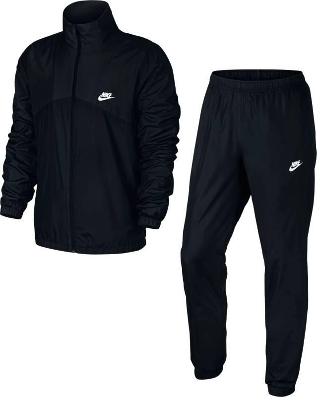 Спортивный костюм мужской Nike Nstrk Suit Wvn Halftime, цвет: черный. 832844-010. Размер XL (52/54)832844-010Мужской спортивный костюм Nstrk Suit Wvn Halftime от Nike, состоящий из куртки и брюк, станет отличным дополнением к вашему гардеробу. Изготовленный из полиэстера, он легкий, приятный на ощупь, не сковывает движения и хорошо вентилируется. Куртка с воротником-стойкой и длинными рукавами застегивается на застежку-молнию, и дополнена двумя карманами. Манжеты рукавов и низ модели присборены на резинки.Брюки на поясе имеют широкую эластичную резинку. Низ брюк присборен на резинку.