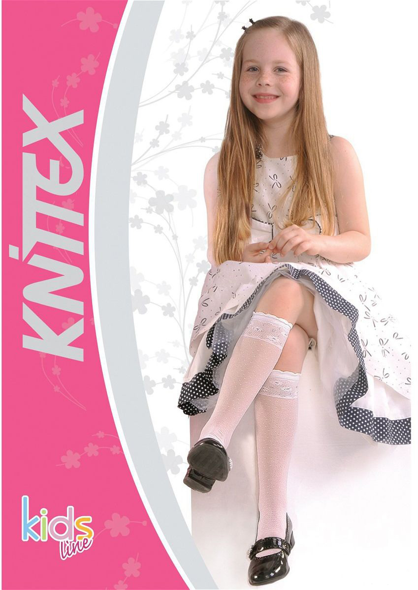 Гольфы для девочки Knittex, цвет: белый. POLA. Размер 18/22POLAГольфы Knittexсо изготовлены из полиамида и эластана, которые обеспечивают отличную посадку. Модель оформлена узором. Гольфы оснащены эластичной резинкой, которая плотно облегает ножку ребенка, не сдавливая ее, обеспечивает удобство.