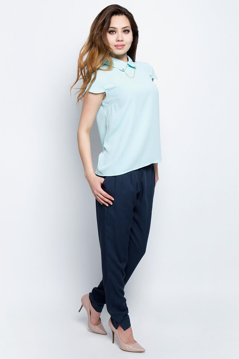 Блузка женская Baon, цвет: голубой. B197033_Adriatic Mist. Размер L (48)B197033_Adriatic MistБлузка женская Baon выполнена из полиэстера. Модель с короткими рукавами и отложным воротником.