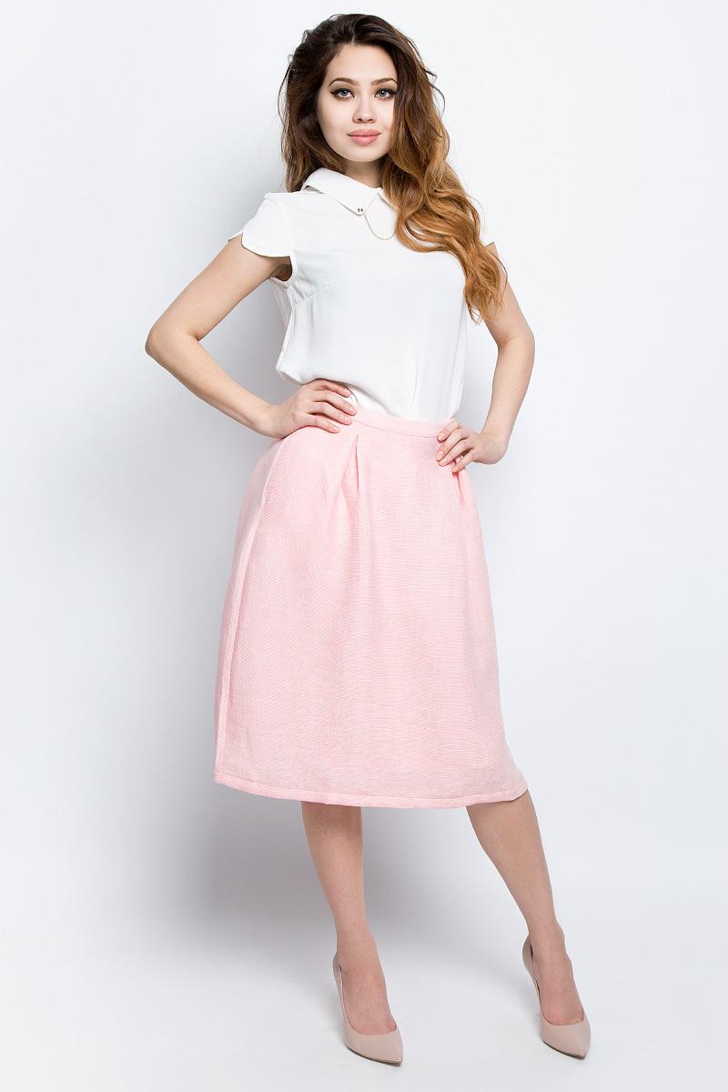 Юбка женская Baon, цвет: розовый. B477017_Pearl. Размер M (46)B477017_PearlЮбка женская Baon выполнена из вискозы и полиамида. Модель сзади застегивается на застежку-молнию.
