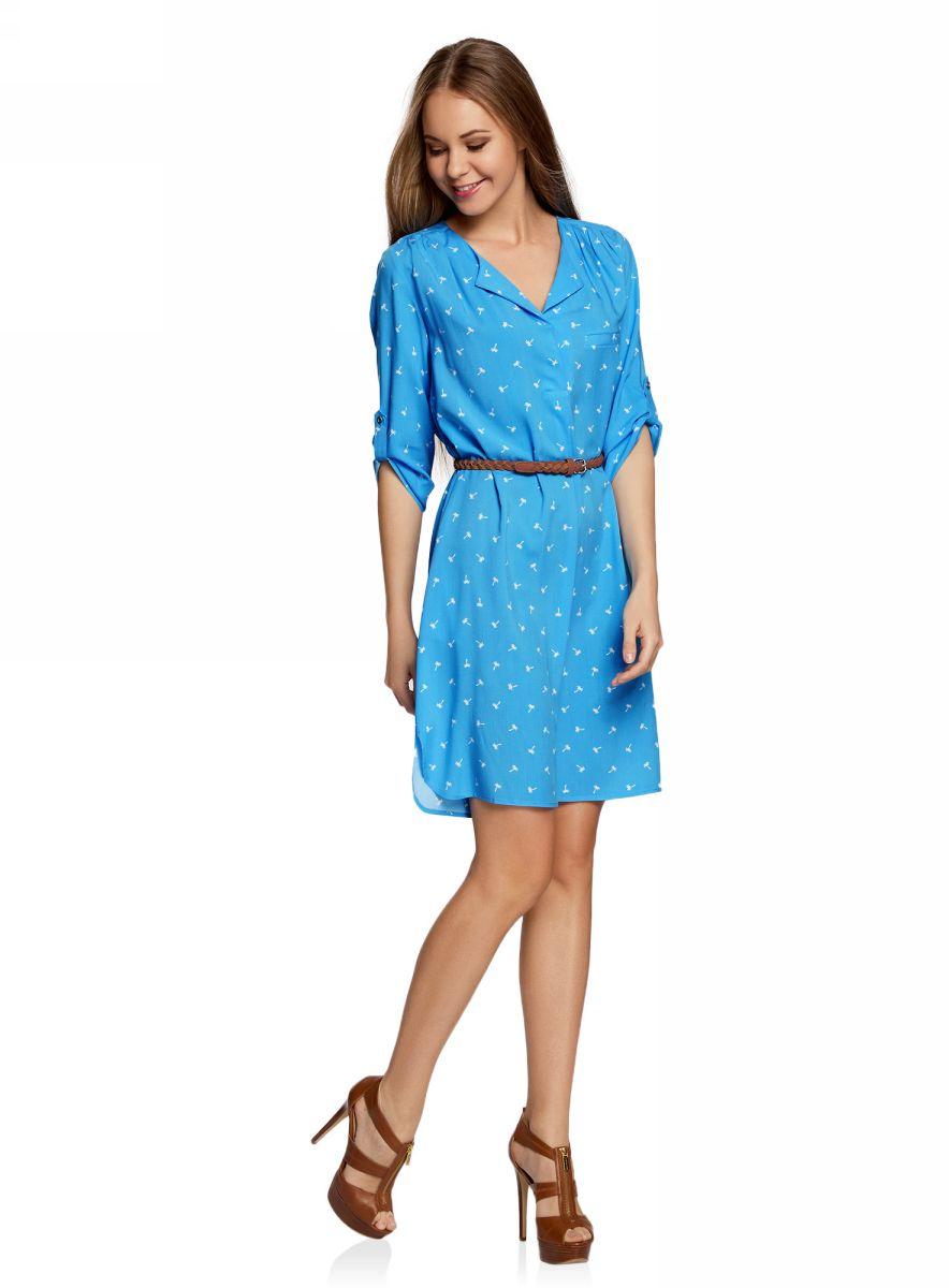 Платье oodji Ultra, цвет: синий, белый. 11900180B/42540/7510Q. Размер 38-170 (44-170)11900180B/42540/7510QПлатье свободного силуэта oodji Ultra, выполненное из мягкой струящейся ткани, поможет создать модный образ. Модель средней длины с рукавами 3/4 и воротником с лацканами застегивается на пуговицы на груди, скрытые планкой, и дополнена небольшим прорезным карманом. Рукава можно подвернуть и зафиксировать хлястиком на пуговице. В комплект с платьемвходит узкий ремень из искусственной кожи с металлической пряжкой.