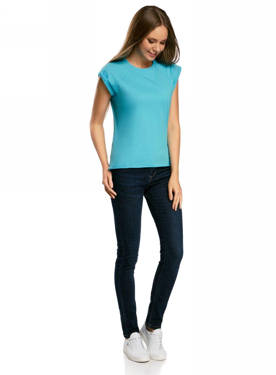 Футболка женская oodji Ultra, цвет: голубой. 14707001B/46154/7300N. Размер S (44)14707001B/46154/7300NБазовая футболка свободного кроя с круглым вырезом горловины и короткими рукавами-реглан выполнена из натурального хлопка.