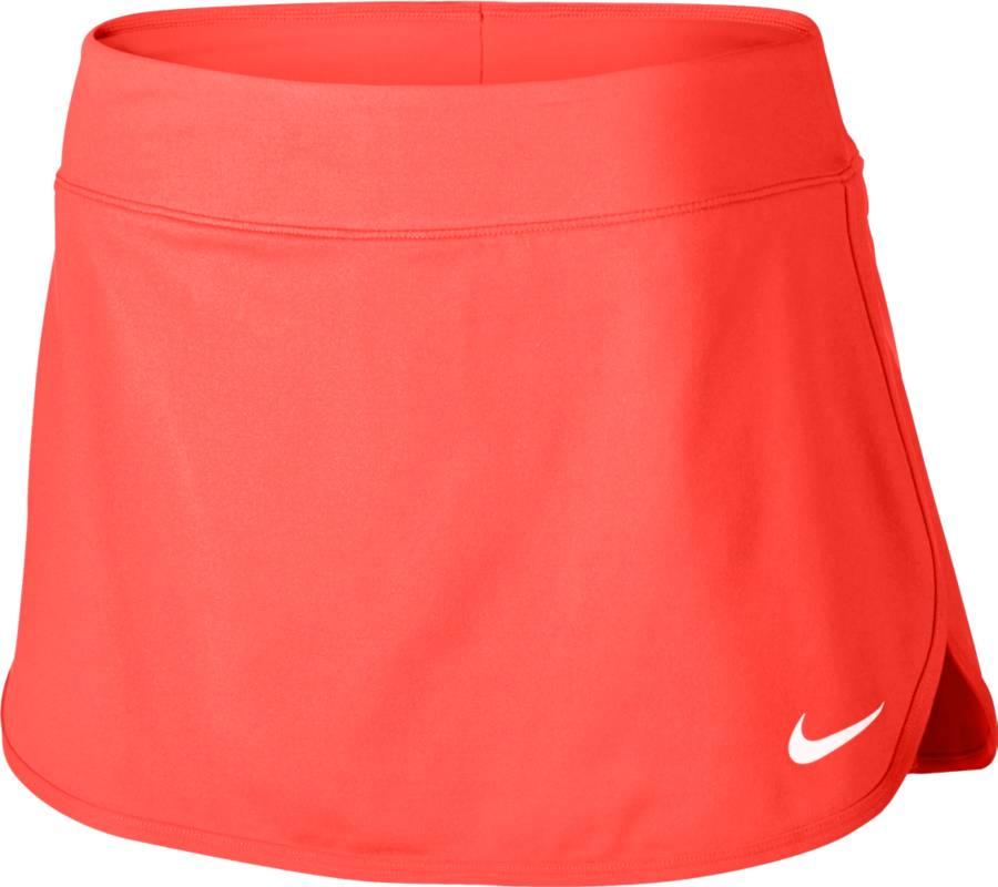 Юбка для тенниса Nike Pure Skirt, цвет: оранжевый. 728777-877. Размер XS (40/42)728777-877Теннисная юбка Pure Skirt от Nike выполнена из эластичного полиэстера, который обеспечивает комфортную посадку. Ткань Nike Dry с технологией Dri-FIT отводит влагу с кожи на поверхность изделия, где она быстро испаряется. Модель оснащена эластичным поясом и внутренними шортами.