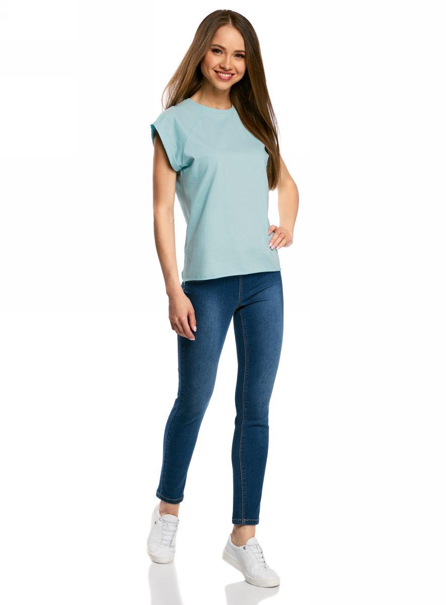 Футболка женская oodji Ultra, цвет: голубой. 14707001B/46154/7001N. Размер XS (42)14707001B/46154/7001NБазовая футболка свободного кроя с круглым вырезом горловины и короткими рукавами-реглан выполнена из натурального хлопка.