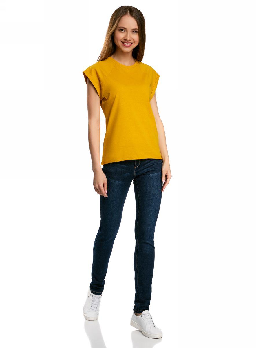 Футболка женская oodji Ultra, цвет: желтый. 14707001B/46154/5200N. Размер S (44)14707001B/46154/5200NБазовая футболка свободного кроя с круглым вырезом горловины и короткими рукавами-реглан выполнена из натурального хлопка.