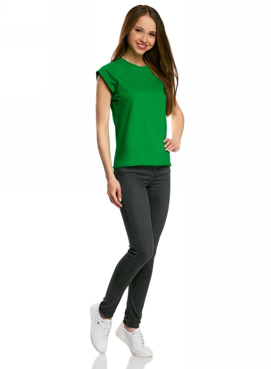 Футболка женская oodji Ultra, цвет: ярко-зеленый. 14707001B/46154/6A01N. Размер L (48)14707001B/46154/6A01NБазовая футболка свободного кроя с круглым вырезом горловины и короткими рукавами-реглан выполнена из натурального хлопка.