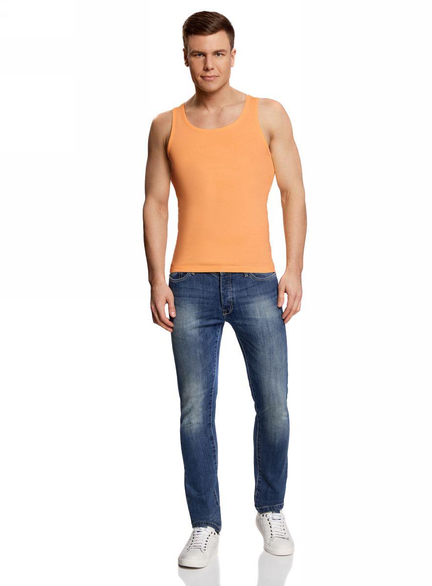 Майка мужская oodji Basic, цвет: оранжевый. 5B710002M/44260N/5500Y. Размер S (46/48)5B710002M/44260N/5500YМужская базовая майка oodji выполнена из натурального хлопка. Майка с круглым вырезом горловины.