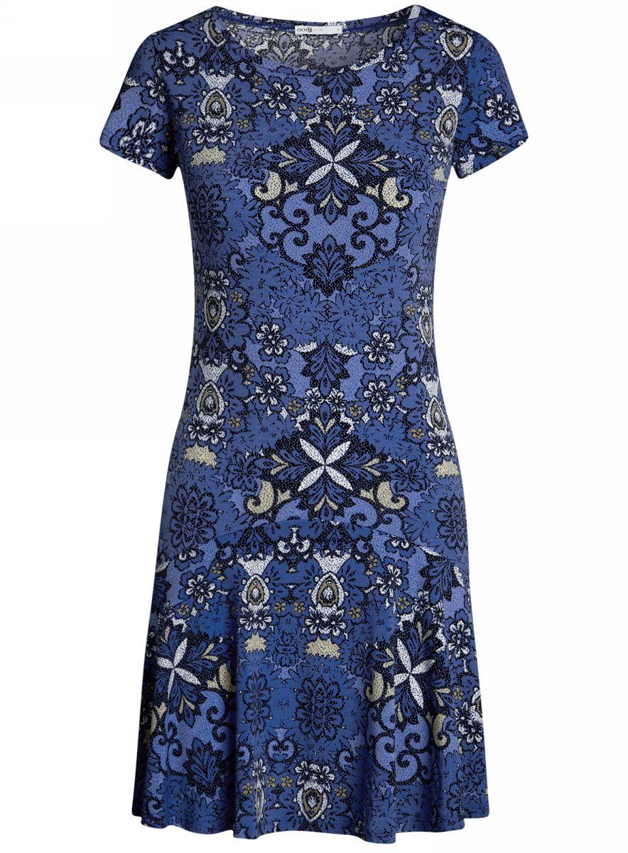 Платье oodji Ultra, цвет: синий, голубой. 14011017/46384/7574E. Размер XS (42)14011017/46384/7574EПриталенное платье oodji Ultra с юбкой-воланами выполнено из качественного трикотажа. Модель средней длины с круглым вырезом горловины и короткими рукавами выгодно подчеркнет достоинства фигуры.