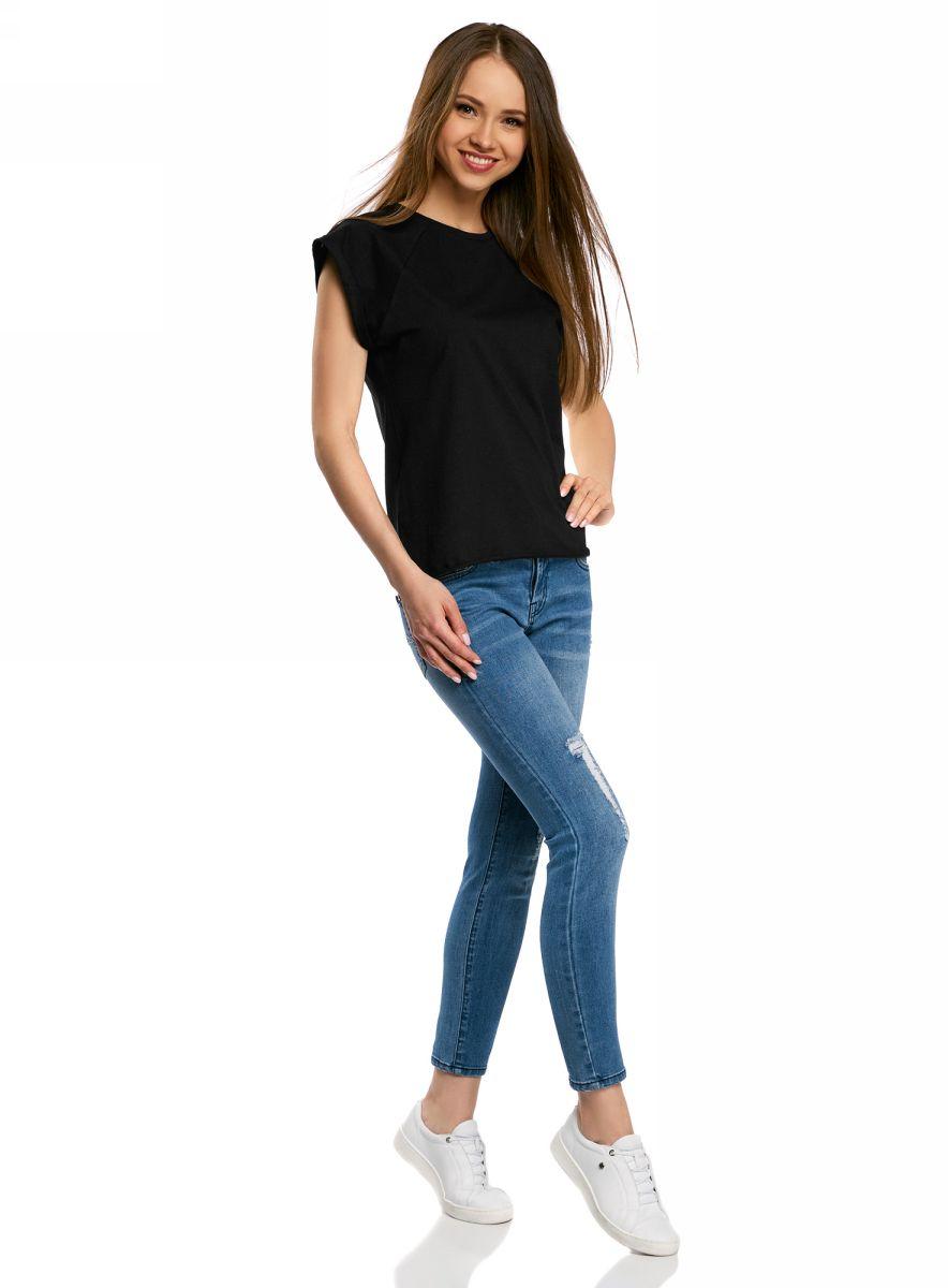 Футболка женская oodji Ultra, цвет: черный. 14707001B/46154/2900N. Размер L (48)14707001B/46154/2900NБазовая футболка свободного кроя с круглым вырезом горловины и короткими рукавами-реглан выполнена из натурального хлопка.