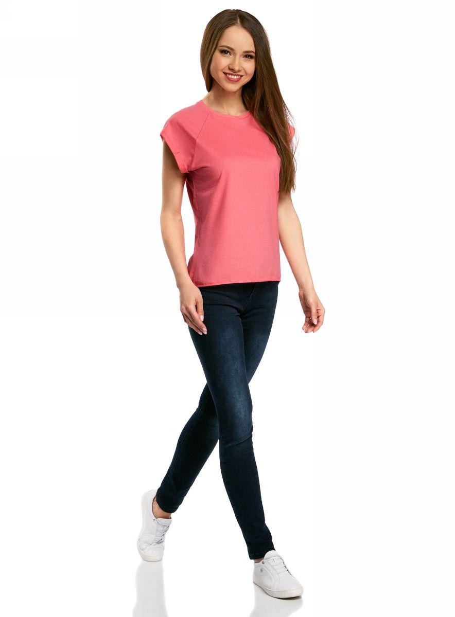 Футболка женская oodji Ultra, цвет: ярко-розовый. 14707001B/46154/4D01N. Размер M (46)14707001B/46154/4D01NБазовая футболка свободного кроя с круглым вырезом горловины и короткими рукавами-реглан выполнена из натурального хлопка.