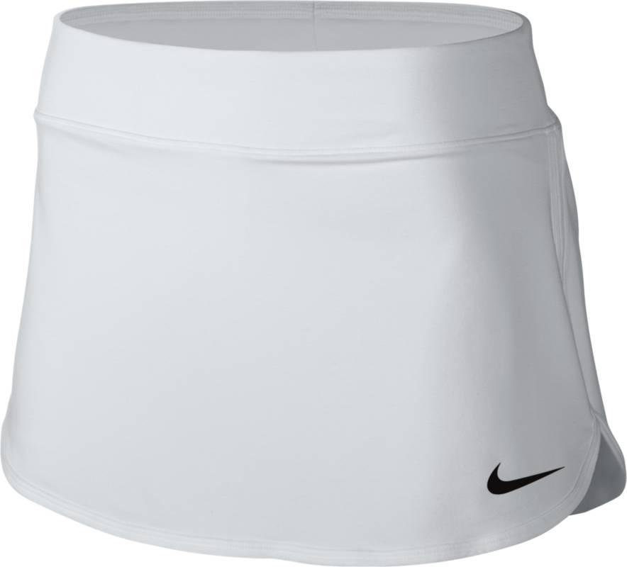 Юбка для тенниса Nike Pure Skirt, цвет: белый. 728777-100. Размер XS (40/42)728777-100Теннисная юбка Pure Skirt от Nike выполнена из эластичного полиэстера, который обеспечивает комфортную посадку. Ткань Nike Dry с технологией Dri-FIT отводит влагу с кожи на поверхность изделия, где она быстро испаряется. Модель оснащена эластичным поясом и внутренними шортами.