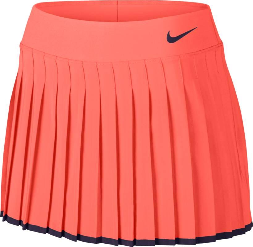 Юбка для тенниса Nike Victory Skirt, цвет: персиковый. 728773-890. Размер M (44/46)728773-890Юбка для тенниса Victory Skirt от Nike выполнена из влагоотводящей ткани Dri - Fit. Модель расклешенного кроя с классическими складками оснащена вшитыми внутренними шортами. Эластичный пояс из материала Powermesh для комфортной посадки.