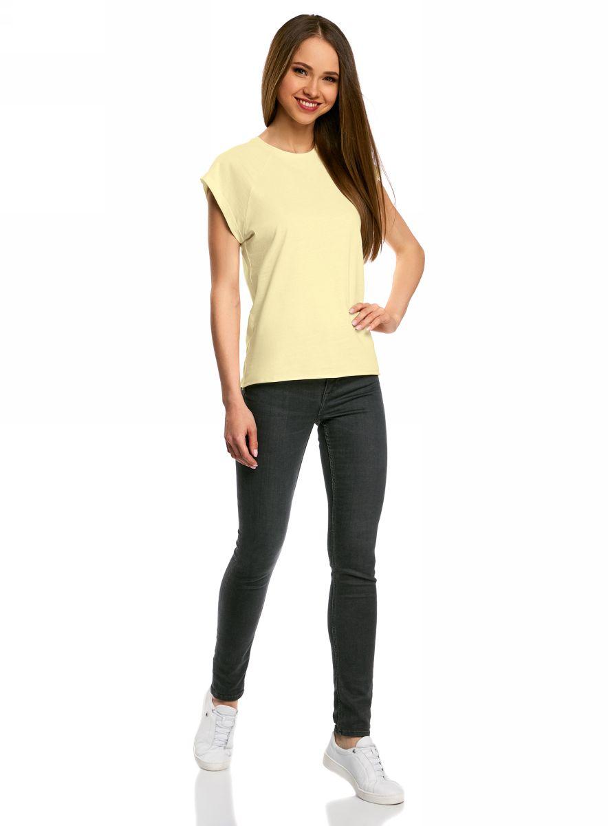 Футболка женская oodji Ultra, цвет: светло-желтый. 14707001B/46154/5000N. Размер XL (50)14707001B/46154/5000NБазовая футболка свободного кроя с круглым вырезом горловины и короткими рукавами-реглан выполнена из натурального хлопка.