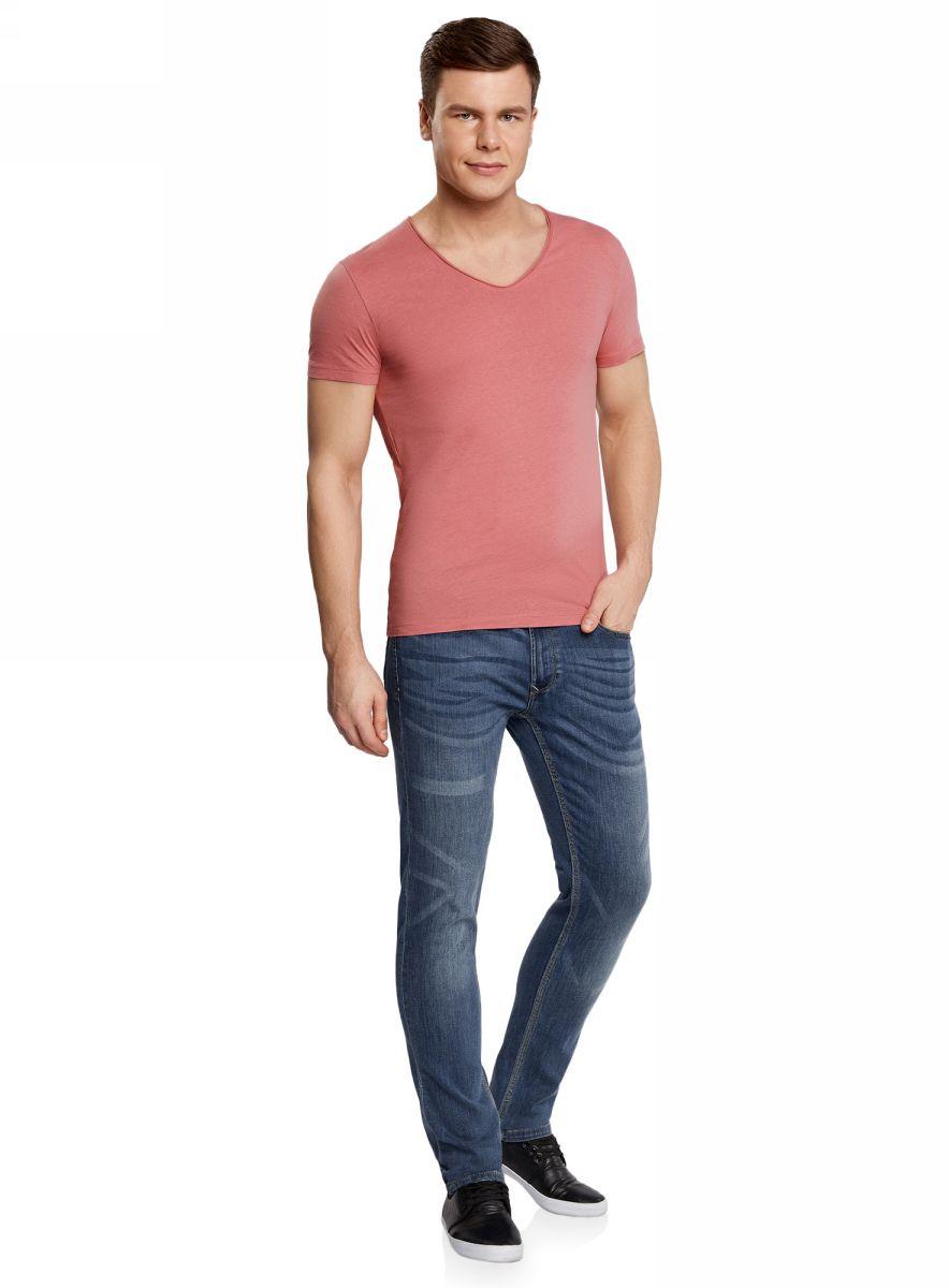 Футболка мужская oodji Lab, цвет: розовый. 5L602001M/46729N/4A00N. Размер XS (44)5L602001M/46729N/4A00NМужская футболка с V-образным вырезом горловины и короткими рукавами выполнена из натурального хлопка.