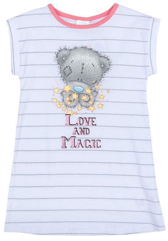 Ночная рубашка для девочки PlayToday, цвет: белый, серый. 676007. Размер 104676007Ночная рубашка для девочки подарит не только комфорт и уют, но и понравится ребенку благодаря своему веселому и приятному дизайну. Изготовленная из эластичного хлопка, она тактильно приятна, хорошо пропускает воздух, а благодаря свободному крою не стесняет движений во сне.