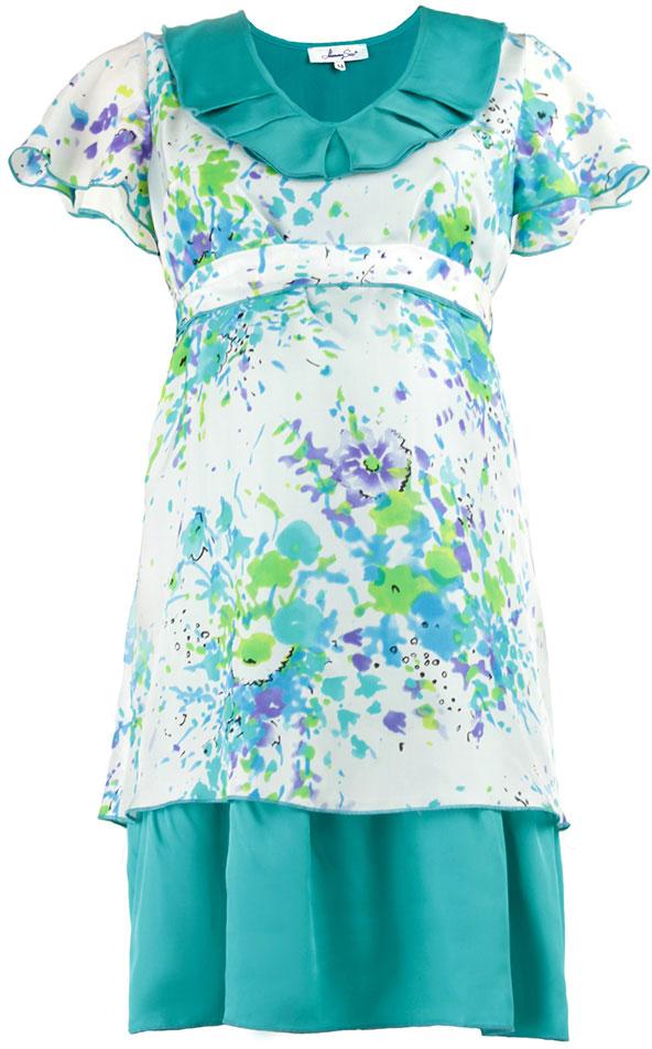 Платье для беременных Mammy Size Premium, цвет: голубой, белый. 51393514. Размер 4251393514Платье Mammy Size Premium полуприлегающего силуэта, трапециевидной формы, из шелка, отрезное под грудью на поясе, длиной до середины колена. Горловина углубленная, овальной формы с декоративным воланом со складками. Рукав - крылышко, свободной формы с фалдами. Юбка двойная из основной и дополнительной ткани разных длин.