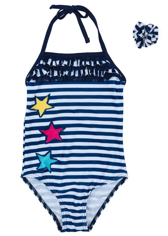 Купальник для девочки PlayToday, цвет: белый, синий. 179012. Размер 98179012Купальник - это неотъемлемая часть летнего гардероба. Быстросохнущий и эластичный материал этой модели приятен к телу. Ребенку в этом купальнике будет удобно и комфортно.