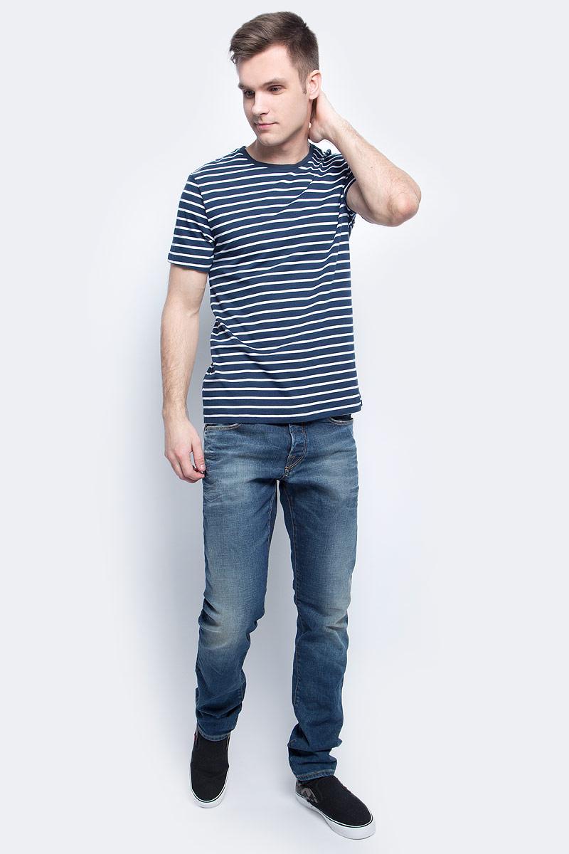 Футболка мужская Baon, цвет: синий. B737002_Deep Navy Striped. Размер L (50)B737002_Deep Navy StripedФутболка мужская Baon выполнена из 100% хлопка. Модель с круглым вырезом горловины и короткими рукавами.