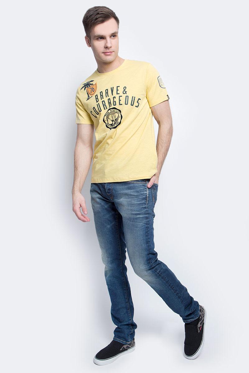 Футболка мужская Baon, цвет: желтый. B737020_Candlelight. Размер M (48)B737020_CandlelightФутболка мужская Baon выполнена из 100% хлопка. Модель с круглым вырезом горловины и короткими рукавами.