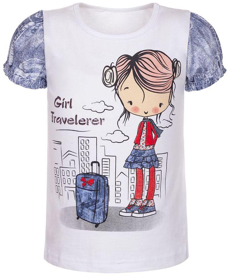 Футболка для девочки M&D, цвет: белый, мультиколор. ФД16120101. Размер 104ФД16120101Детская футболка M&D выполнена из эластичного хлопка. Модель с короткими рукавами и круглым вырезом горловины спереди оформлена ярким принтом.