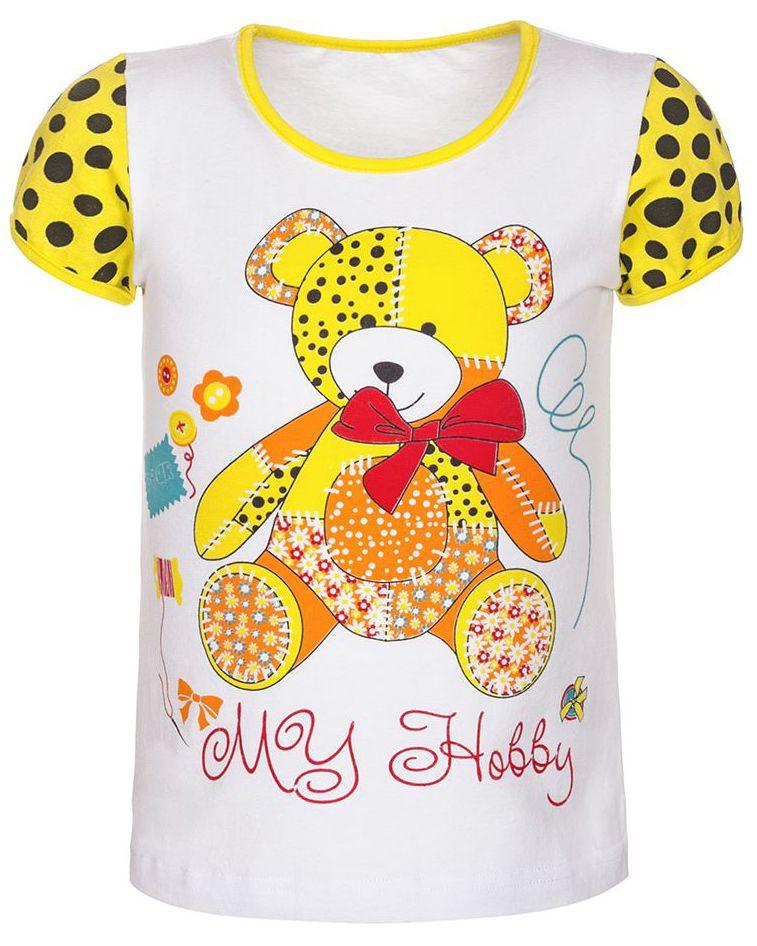 Футболка для девочки M&D, цвет: желтый, мультиколор. ФД16010202. Размер 92ФД16010202Детская футболка M&D выполнена из эластичного хлопка. Модель с короткими рукавами и круглым вырезом горловины спереди оформлена ярким принтом.