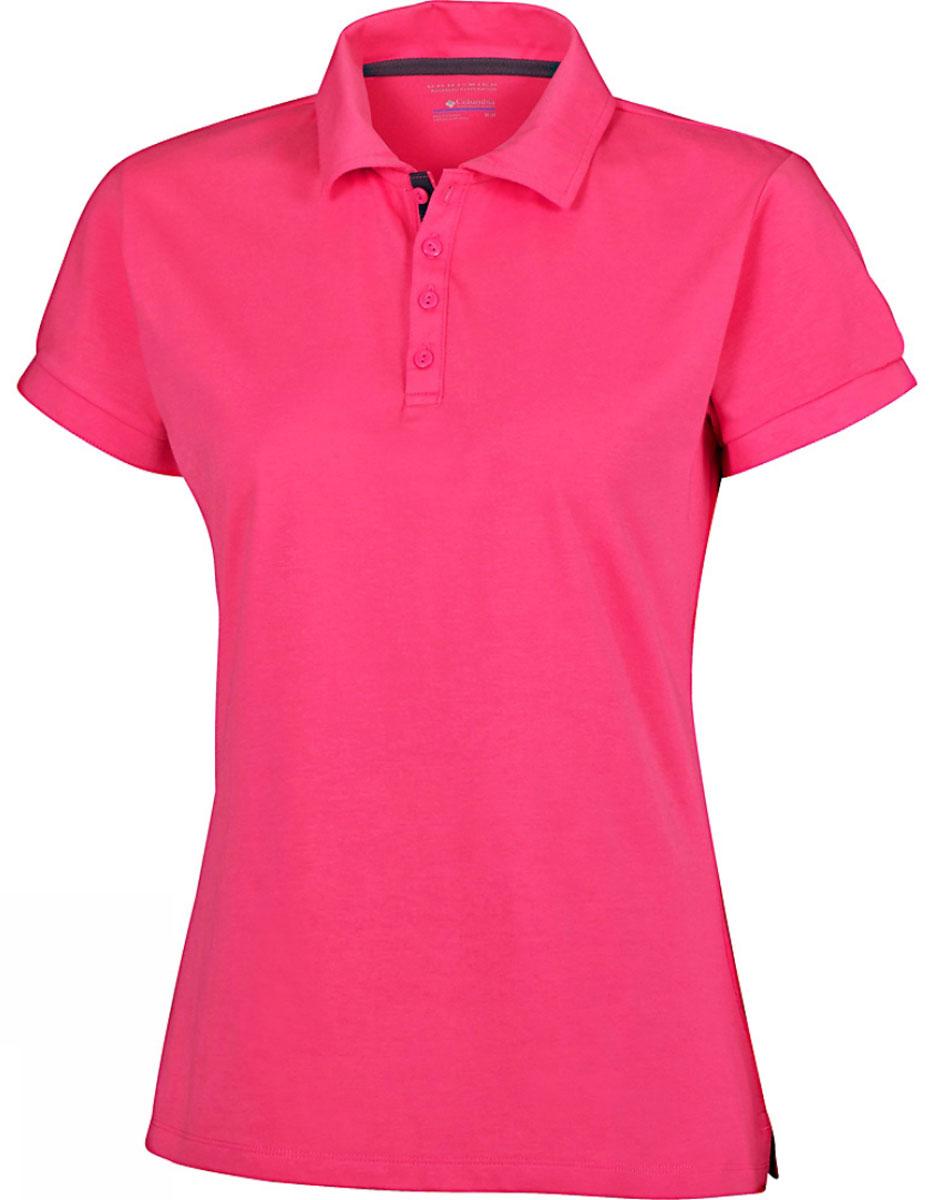 Поло женское Columbia Splendid Summer, цвет: розовый. 1491681-956. Размер XL (50)1491681-956Стильная женская футболка-поло Columbia Splendid Summer, изготовленная из хлопка и полиэстера с добавлением эластана, обладает высокой теплопроводностью, воздухопроницаемостью и гигроскопичностью. Технология материала Omni-Wick быстро впитывает влагу и отводит ее от тела. Технология Omni-Shade UPF 30 защищает от ультрафиолетовых лучей.Модель с короткими рукавами и отложным воротником - идеальный вариант для создания современного образа. Сверху футболка-поло застегивается на 4 пуговицы. Манжеты рукавов застегиваются на пуговицы. Нижняя часть модели по боковым швам оформлена небольшими разрезами.Такая футболка подарит вам комфорт в течение всего дня и послужит замечательным дополнением к вашему гардеробу.