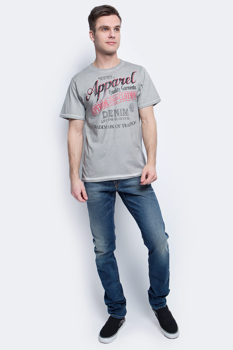 Футболка мужская Baon, цвет: серый. B737073_Grey. Размер XL (52)B737073_GreyФутболка мужская Baon выполнена из натурального хлопка. Модель с круглым вырезом горловины и короткими рукавами.