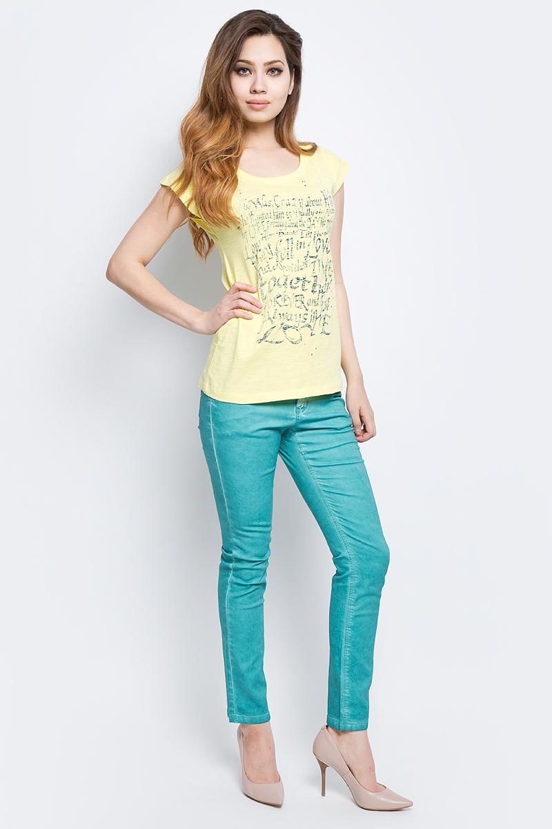 Футболка женская Baon, цвет: желтый. B237085_Canary. Размер M (46)B237085_CanaryФутболка женская Baon выполнена из натурального хлопка. Модель с круглым вырезом горловины и короткими рукавами оформлена оригинальным принтом.