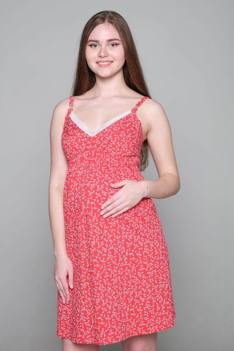 Ночная сорочка для беременных и кормящих Hunny Mammy, цвет: красный. 1-НМП 21601. Размер 501-НМП 21601Ночная сорочка Hunny Mammy изготовлена из натурального хлопка. Модель с V-образным вырезом горловины и удобным секретом для кормления создана для максимального комфорта будущих и кормящих мам. Удобная конструкция лифа позволит носить сорочку без бюстгальтера. Сорочка с регулируемыми бретелями имеет застежки-клипсы. Небольшая сборочка под грудью идеально лежит на беременном животике и обеспечивает комфорт и удобство. Сорочка оформлена принтом и украшена изящным кружевом.