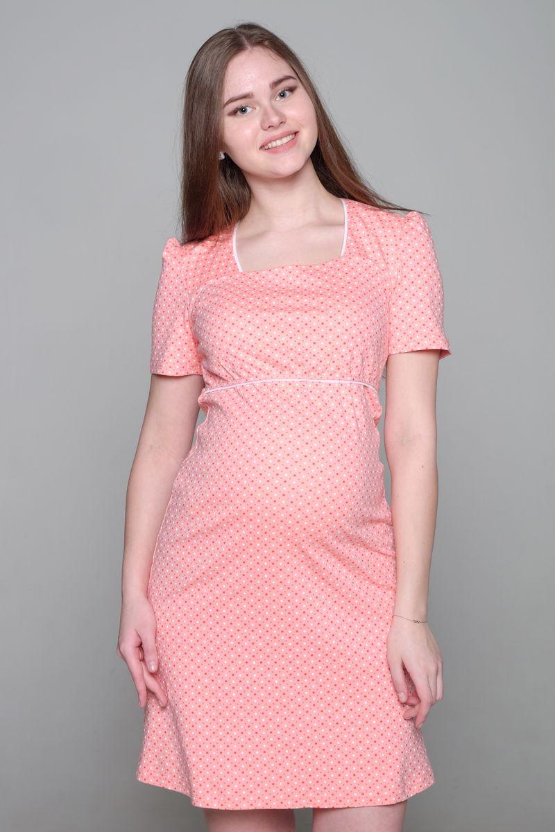 Платье домашнее для беременных и кормящих Hunny Mammy, цвет: персиковый, оранжевый. 1-НМО 02703. Размер 461-НМО 02703Комфортное домашнее платье Hunny Mammy изготовлено из эластичного трикотажного полотна. Платье с короткими рукавами-фонариками оформлено принтом. Секрет для кормления расположен под отлетной кокеткой лифа изделия.
