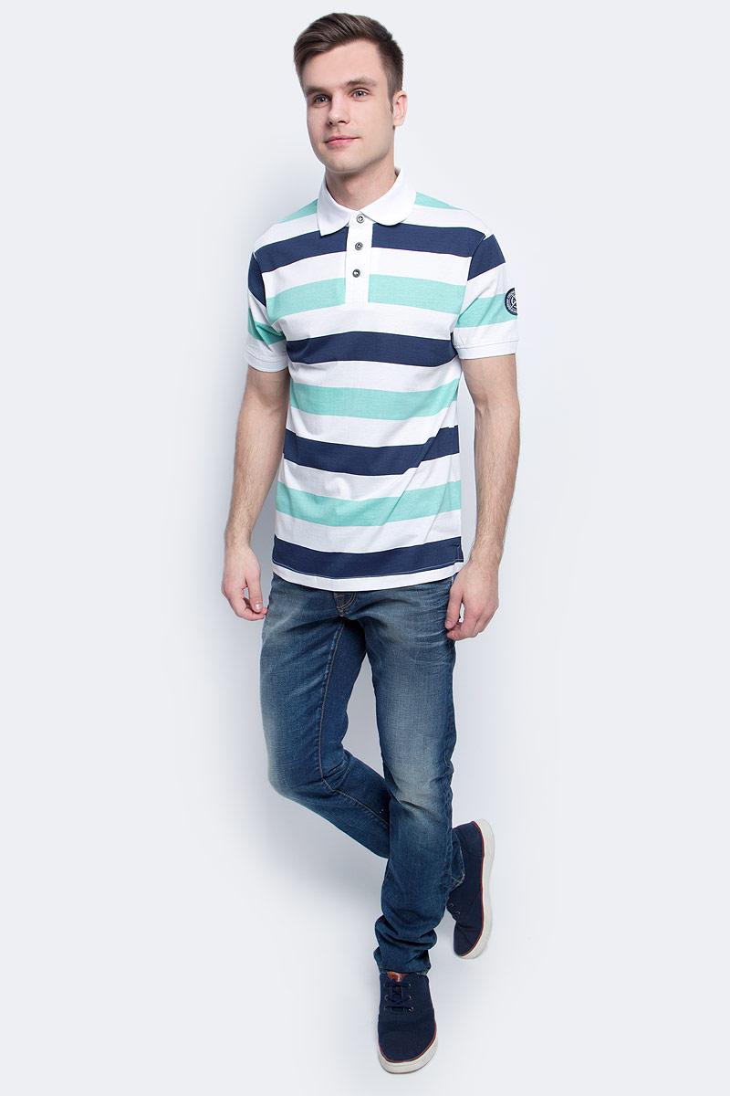 Поло мужское Baon, цвет: белый. B707025_White Striped. Размер XL (52)B707025_White StripedПоло мужское Baon выполнено из натурального хлопка. Модель с отложным воротником и короткими рукавами застегивается на пуговицы.